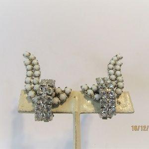 rhinestone and white glass clip earrings